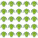 Cartoon Monsters Smilies Set. Set of Funny Monsters Smilies, Symbolizing Various Human Emotions and Moods, Cartoon Green Characters with Four Hands, Isolated on Royalty Free Stock Photos