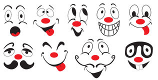 Set of funny mood icons. Illustration of several funny smileys on white background Stock Photos