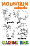 Set of funny mountain animals. Coloring book. Set of funny panda, yak, ram and vulture. Coloring book or coloring picture stock illustration