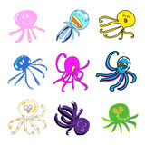 Set of funny octopus cartoon hand-drawn Royalty Free Stock Photography