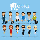 Set Of Funny Office Characters Isolated On Background Stock Photos