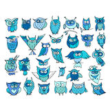 Set of funny owl collection for your design Royalty Free Stock Photos