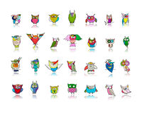 Set of funny owl collection for your design Stock Photo