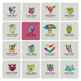 Set of funny owl collection for your design Royalty Free Stock Photography