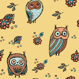 Set of funny owl with flowers sketch, doodle. Seamless pattern on a beige background.  Stock Image
