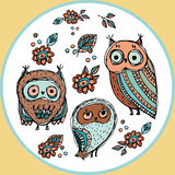 Set of funny owl with flowers sketch, doodle. Vector Stock Photos