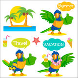 Set Of Funny Parrot Tourist Mascot. Vacation And Tourism Icons And Talk Balloons. Stock Illustration
