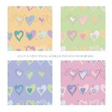 Seamless patterns with hearts vector illustration