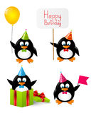 Set of funny penguins Stock Photos