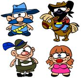 Set of funny people. Funny people. Sheriff, cowboy and german people in cartoon style Stock Images