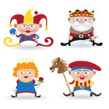 Set of funny people. Funny people set (knave, king, queen and joker on white background Royalty Free Stock Photography