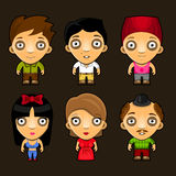 Set of funny people. Cartoon vector characters. Royalty Free Stock Photography