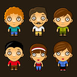 Set of funny people. Cartoon vector characters. Stock Image