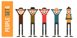 Set of funny people 6 isolated on a white background. Different. Gestures and styles of clothes. Icons of guys in flat style. Vector illustration Royalty Free Stock Photography