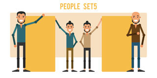 Set of funny people 5 isolated on a white background. Different. Gestures and styles of clothes. Icons of guys in flat style. Vector illustration Stock Photo