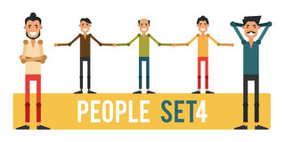 Set of funny people 4 isolated on a white background. Different. Gestures and styles of clothes. Icons of guys in flat style. Vector illustration Royalty Free Stock Images