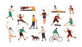 Set of funny people performing sports activities, fitness workout or playing games. Bundle of training or exercising men