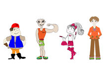 Set of funny people vector. Art Stock Images