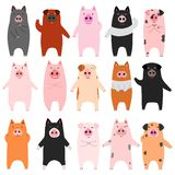 Set of funny pigs. Set of standing funny pigs, for Asian new year designs stock illustration
