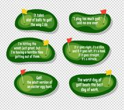 Set of funny quotes about golf. With cartoon golf course map backgrounds Stock Image