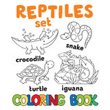 Set of funny reptilies coloring book Stock Photo