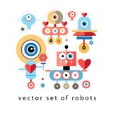 Set of funny robots lovers Stock Photography