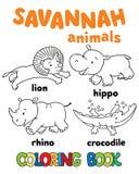 Set of funny savannah animals. Coloring book Stock Photos