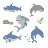Set funny sharks Royalty Free Stock Photos