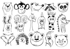Set Of Funny Sketch Animal Face Icons. Stock Photos