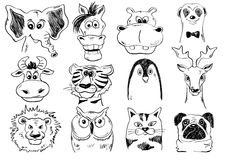 Set Of Funny Sketch Animal Face Icons. Set of  funny cartoon smiling animal face icons. Creative avatars. Sketch animal face characters Royalty Free Stock Photo