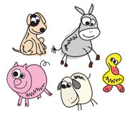Set of Funny Sketch Animals Stock Photography