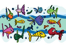 Set of Funny Sketch Fishes Stock Photos