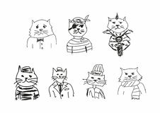 Set of funny sketches of cats. Imitation of children`s drawings. Sketchy, scribble. Vector illustration. stock illustration