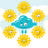 Set of Funny Sky Characters. Set of cute cartoon suns and cloud with different faces Stock Image
