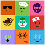 Set funny smiles professions Royalty Free Stock Photos