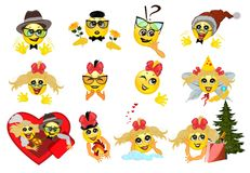 Set of funny smileys. 01 Royalty Free Stock Image