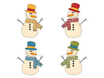Set with funny snowman Royalty Free Stock Images