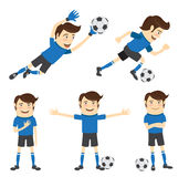 Set of Funny soccer football player wearing blue t-shirt running Stock Image