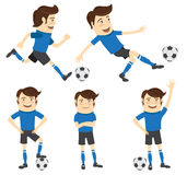 Set of Funny soccer football player wearing blue t-shirt running Stock Photography