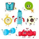 Set of funny sports equipment characters, cartoon illustration Stock Photo
