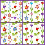Set of funny spring floral wallpaper Royalty Free Stock Photo