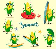 Set of funny summer corn in a cartoon style kawaii. stock illustration