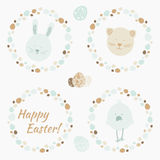 Set of funny symbols of Easter - bunny,cat, chicken and wreathes of eggs. Royalty Free Stock Images