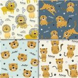 Set of funny tigers and lion seamlesss pattern, childish illustration for fabric,kids nursery vector illustration