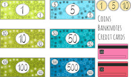Set of funny vector banknotes, coins and credit cards for game. Isolated on white background. Money for playing shop, market, mark Stock Images