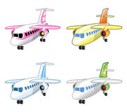 Set of Funny Vector Colorful Airplanes Stock Image