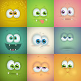 Set of funny vector faces Stock Images