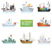 Set of funny vector ships in cartoon style. Different ships vector illustration