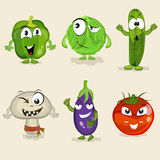 Set of funny vegetable characters. Royalty Free Stock Images