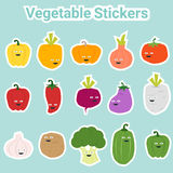 Set of funny vegetable stickers Stock Photos